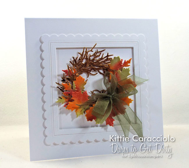 Come see how I made this bright and colorful die cut fall leaf wreath card.