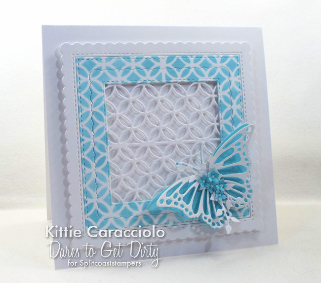 Come see how I made this bright die cut lattice and butterfly card.