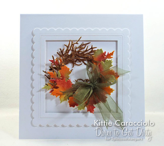 Come see how I made this brightly colored die cut fall leaf wreath card.