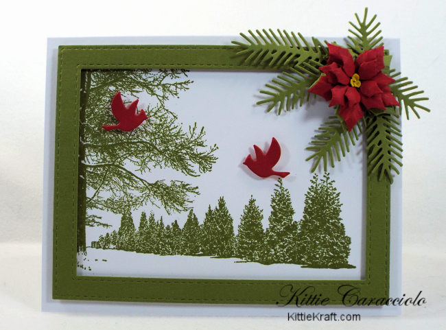 Come see how I made this clean and simple snowy tree scene card embellished with a poinsettia and pine branches.