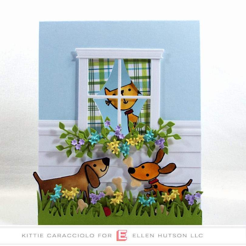 Come see how I made this cute doggie die cut scene card with the cat in the window.