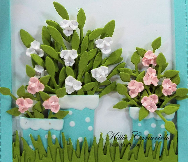 Come see how I made this die cut thank you tag with dotted flower pots.