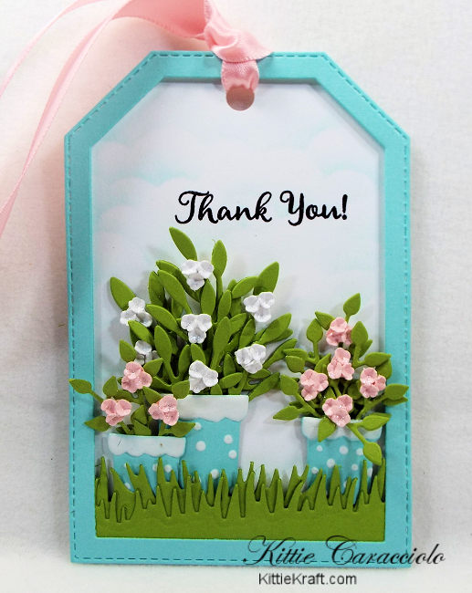 Come see how I made this die cut thank you tag with lovely flower pots.