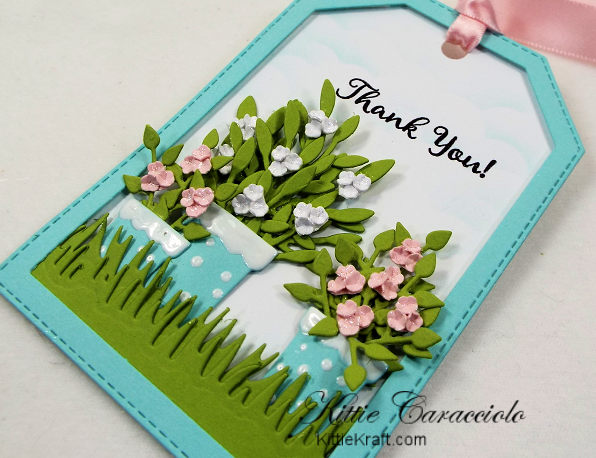 Come see how I made this die cut thank you tag with pretty flower pots.