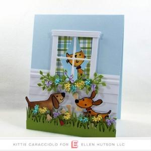 Die Cut Doggie Scene Card