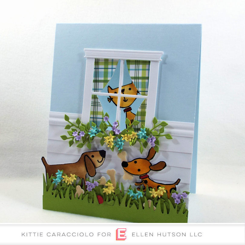 Come see how I made this doggie die cut scene card with the cat in the window.