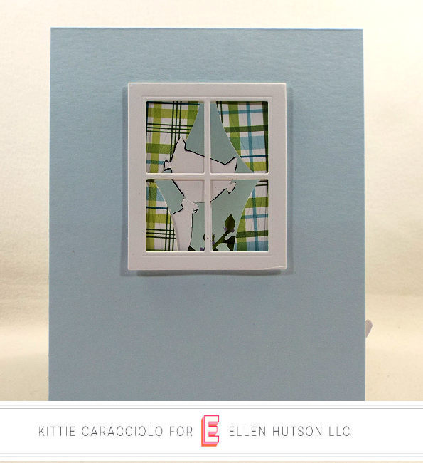 Come see how I made this doggie die cut scene card with the funny cat in the window.
