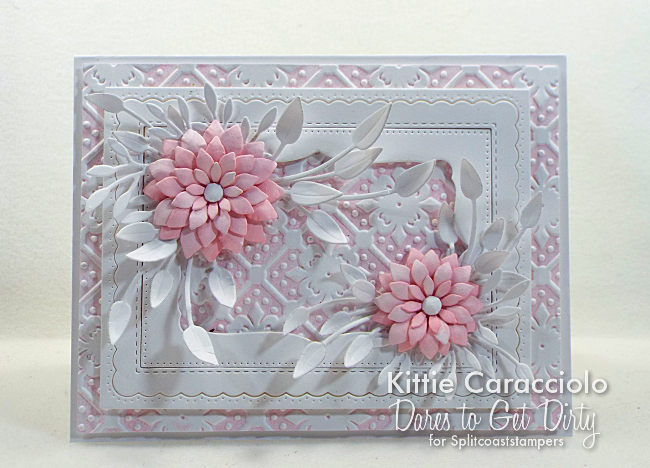 Come see how I made this elegant paper flowers card with embossed background.