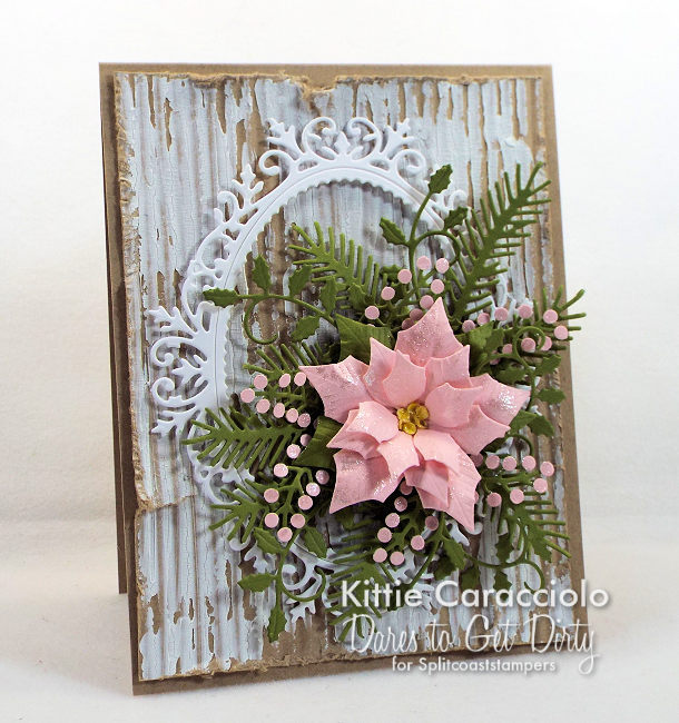 Come see how I made this pretty shabby chic framed poinsettia card.