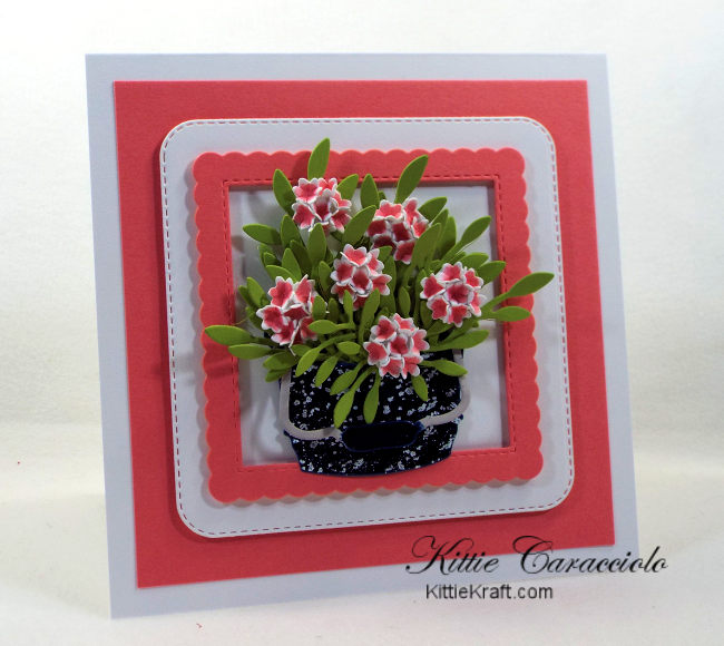 Come see how I made this pretty vintage die cut flower bucket.