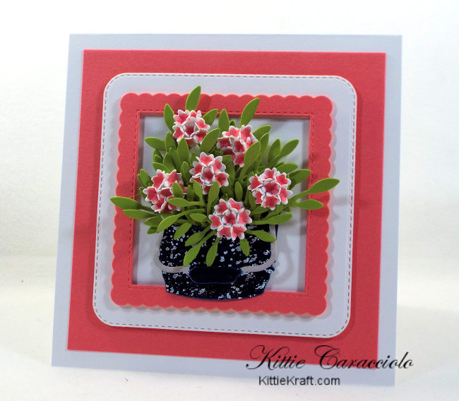 Come see how I made this vintage die cut flower bucket .