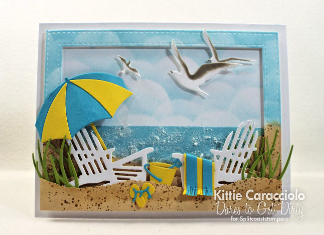 Come see my relaxing beach scene card with die cuts, embossing paste and glitter.