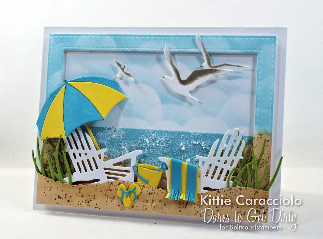 Come see my sparkling beach scene card with die cuts, embossing paste and glitter.