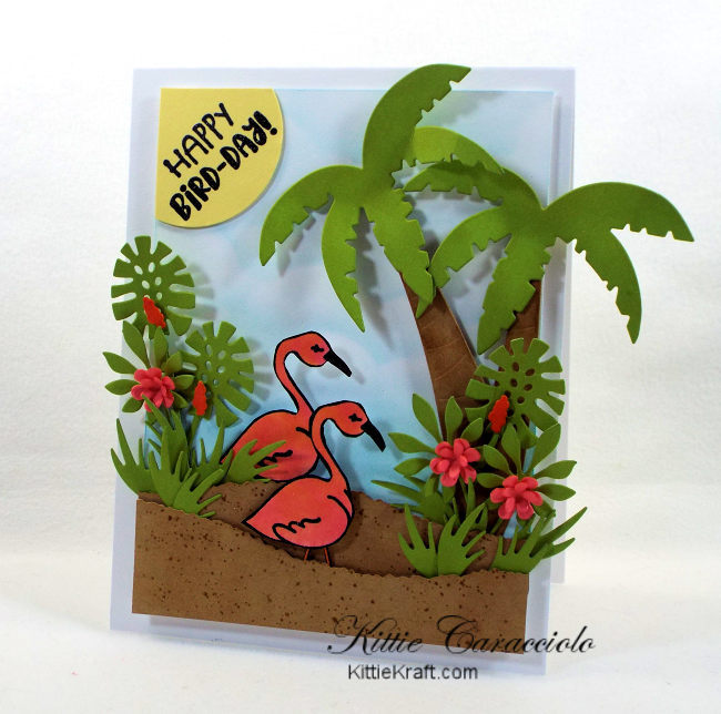 Come check out how I made this fun die cut tropical scene birthday card with flamingos.