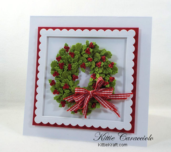 Come see how I made pretty die cut and stamped wreath christmas cards.