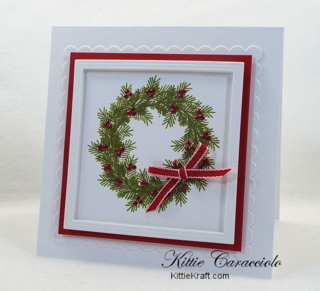 Come see how I made simple die cut and stamped wreath christmas cards.