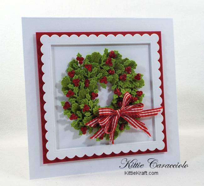 Come see how I made sparkly die cut and stamped wreath christmas cards.