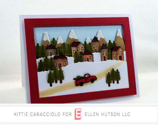 Come see how I made this Essentials by Ellen Over The River Scene Christmas card.