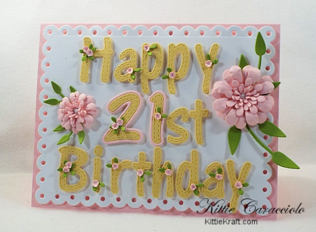 Come see how I made this birthday card with alphabet and number dies for the Rubbernecker Birthday Celebration.