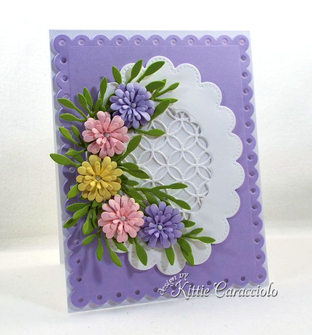 Come see how I made this colorful die cut flowers and scalloped lattice frame card.