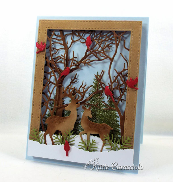 Come see how I made this deer card for the Impression Obsession Fall Winter Die Release.