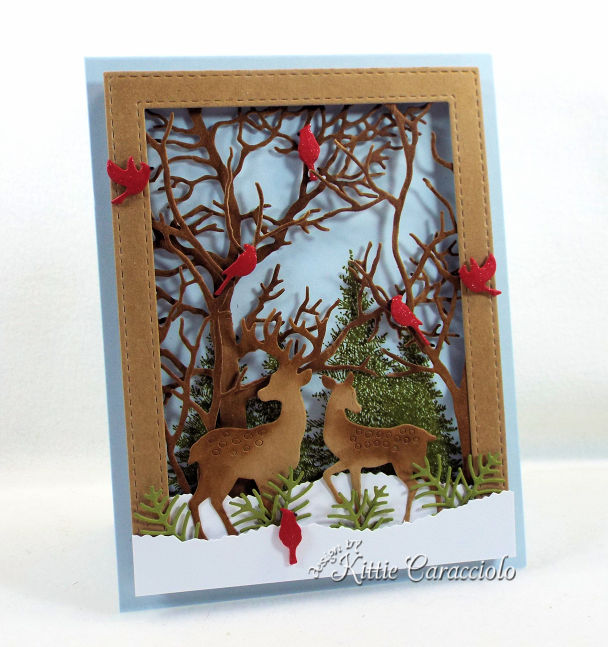 Come see how I made this deer scene card for the Impression Obsession Fall Winter Die Release.