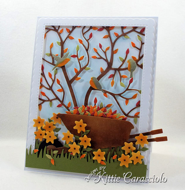 Come see how I made this die cut fall leaves scene card.