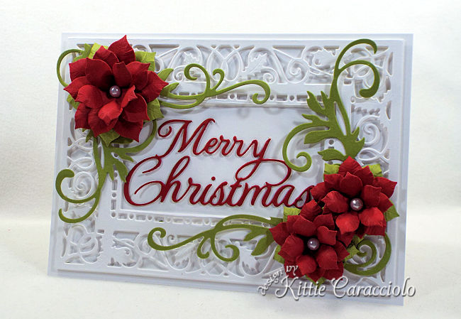 Come see how I made this die cut poinsettia Christmas card.