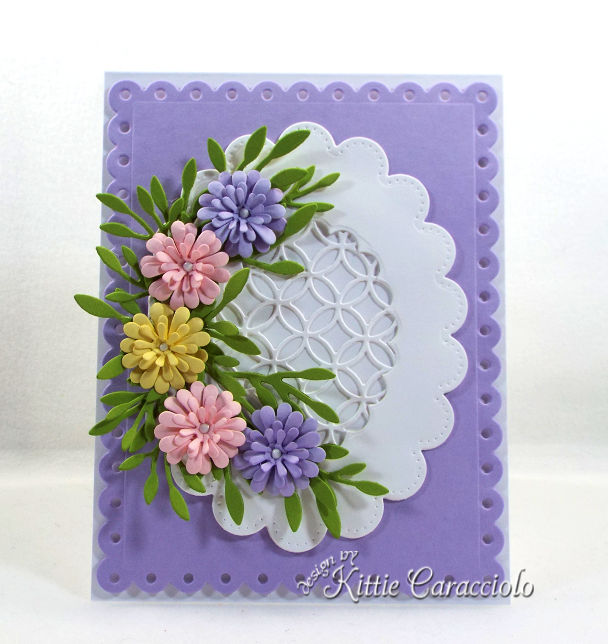Come see how I made this elegant die cut flowers and scalloped lattice frame card.