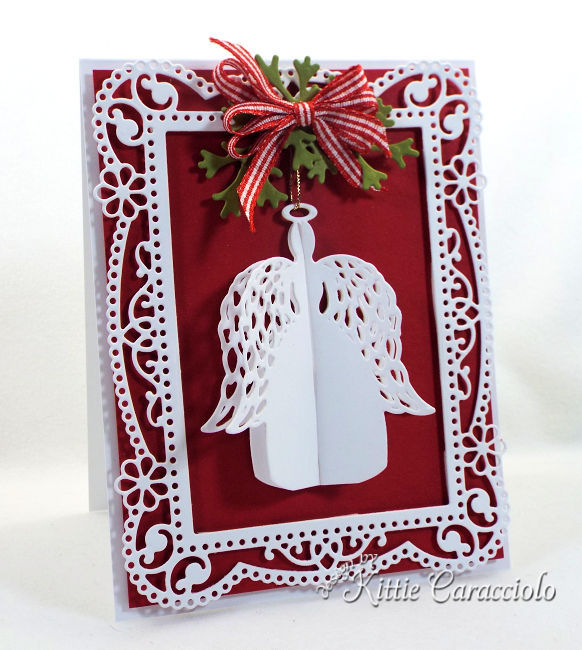 Come see how I made this elegant yet homey feeling angel ornament card from the new Spellbinders holiday release.