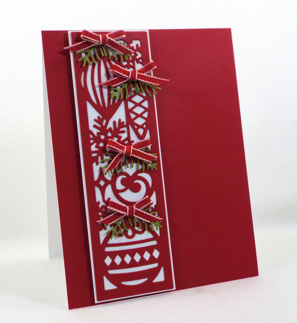 Come see how I made this fast and easy Ornament layered card for the Impression Obsession Winter Die Release.