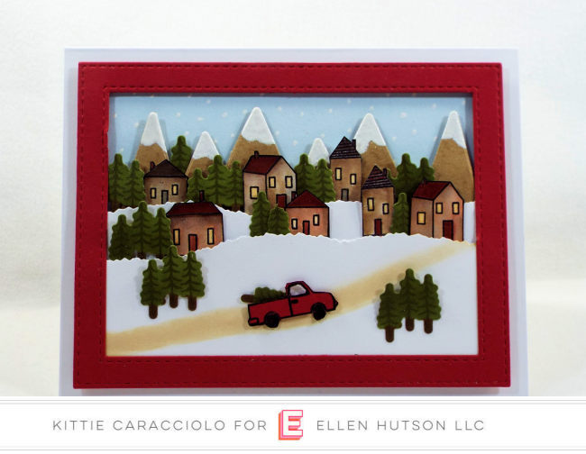 Come see how I made this fun Essentials by Ellen Over The River Scene Christmas card.