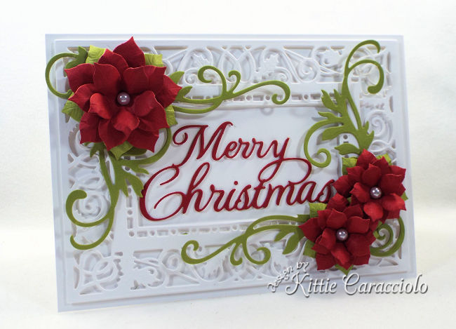 Come see how I made this lovely die cut poinsettia Christmas card.