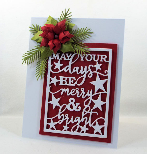 Come see how I made this pretty Merry Word Block and poinsettia card for the Impression Obsession Winter Die Release.