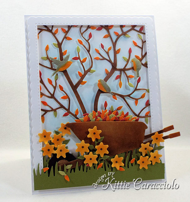 Come see how I made this pretty die cut fall leaves scene card.