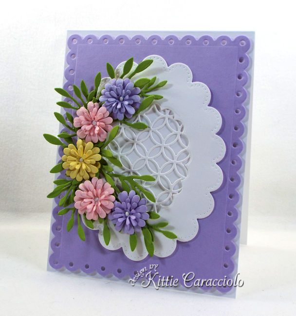 Come see how I made this pretty die cut flowers and scalloped lattice frame card.