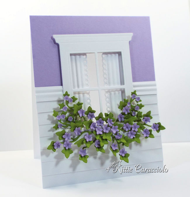 Come see how I made this pretty see through window card with flowers and ivy using new Rubbernecker dies.