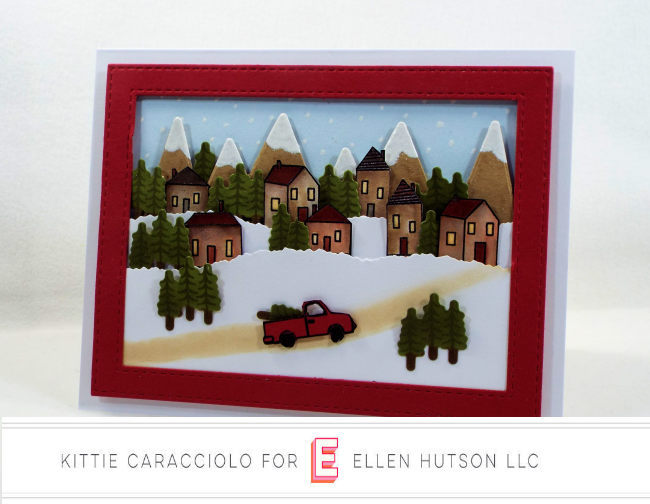 Come see how I made this wintry Essentials by Ellen Over The River Scene Christmas card.