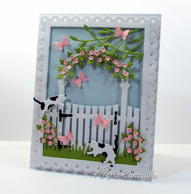 Come check out how I made this die cut arbor and gate scene card.