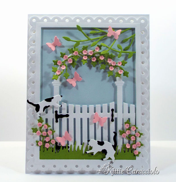 Comae check out how I made this spring die cut arbor and gate scene card.
