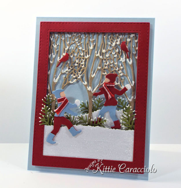Come see how I made this Impression Obsession die cut snowball fight scene.