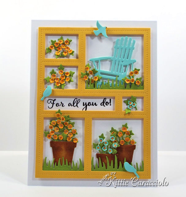 Come see how I made this cheerful die cut window frame card.