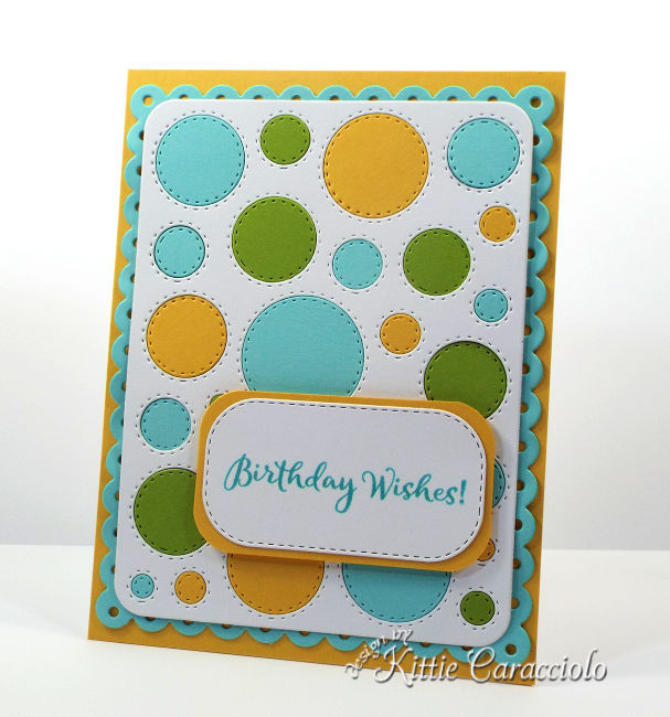 Come see how I made this circle die cut window frame card by filling in all the openings.
