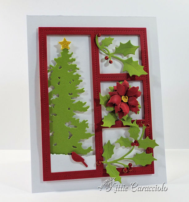Come see how I made this die cut Christmas shadow box with holly, poinsettia and a Chrismtas tree.