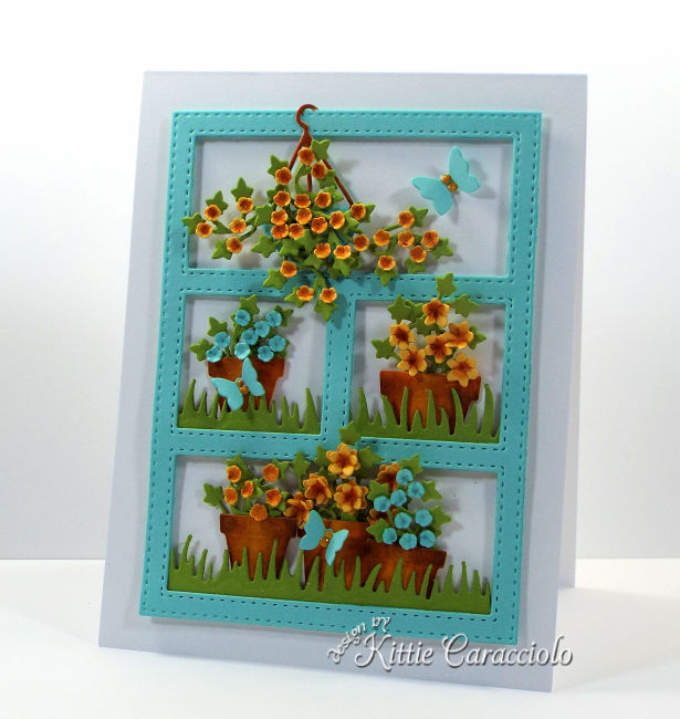 Come see how I made this die cut paper flower pots and wreath card.