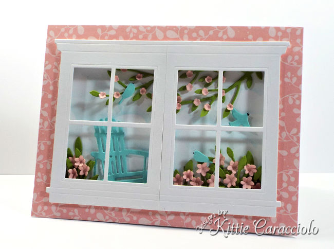 Come see how I made this die cut window and adirondack chair scene card.
