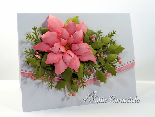 Come see how I made this elegant poinsettia Christmas card with holly and pine sprig branches.