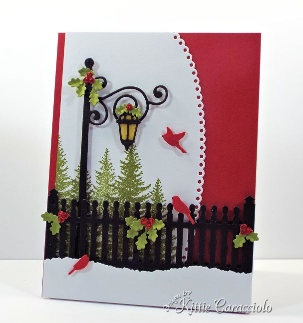 Come see how I made this festive die cut Christmas scene card.