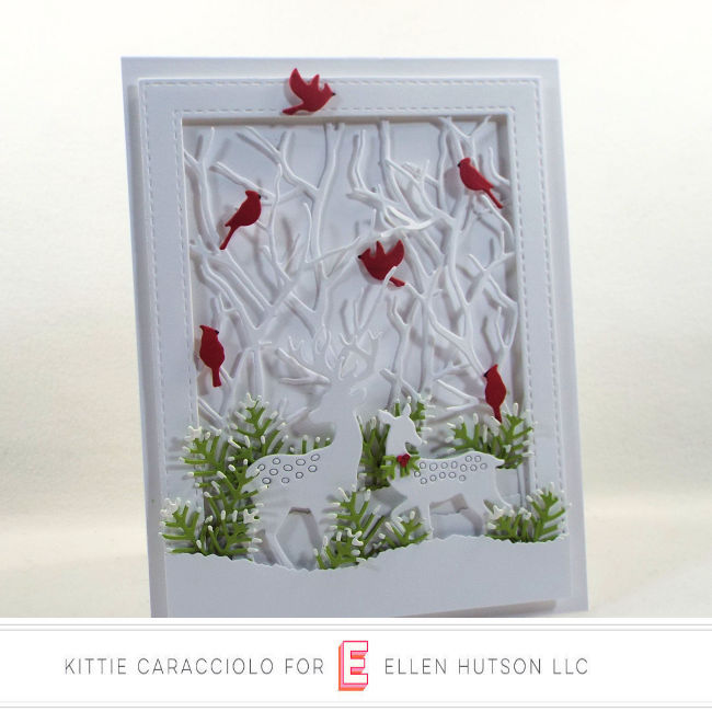 Come see how I made this festive white on white die cut deer scene for the Ellen Hutson Holiday Trend.