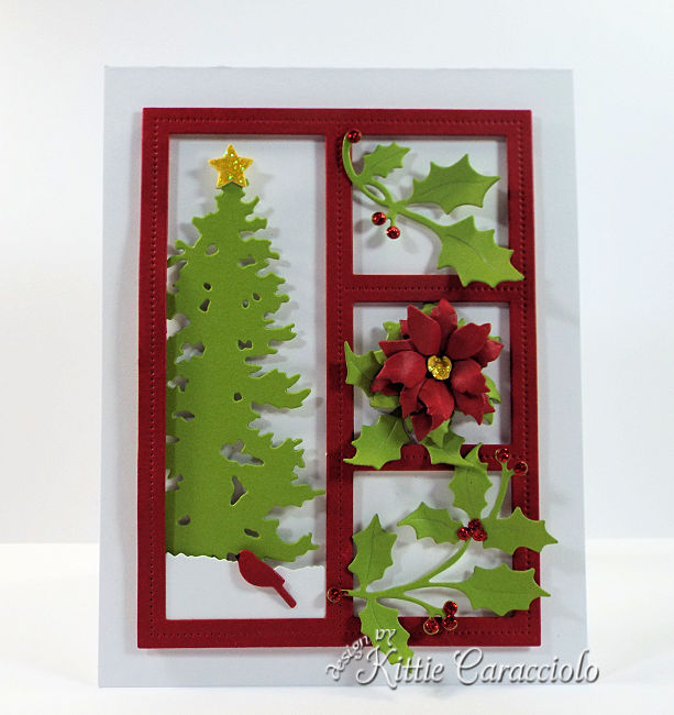Come see how I made this fetive die cut Christmas shadow box with holly, poinsettia and a Chrismtas tree.